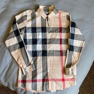 NWOT Burberry Boys oversized Check Shirt Sz 14yo